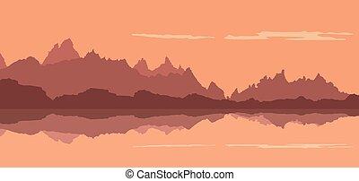 fiume, fondo, foresta, montagne, tramonto, paesaggio