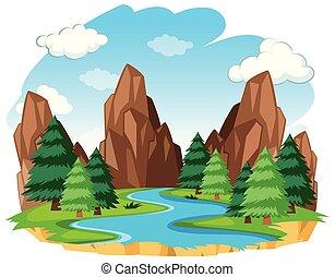 fiume, naturale, paesaggio