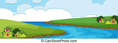 fiume, naturale, vista
