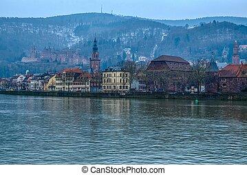 fiume neckar, inverno, heidelberg