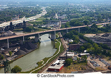 fiume ohio, aereo, cleveland, vista