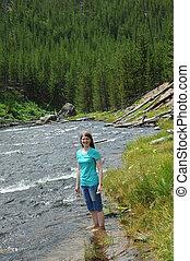fiume, profondo, caviglia, gibbone