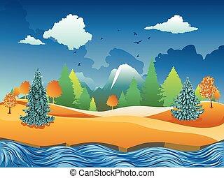 fiume, scena, autunno