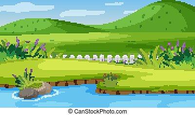 fiume, scena, colline, natura, piccolo