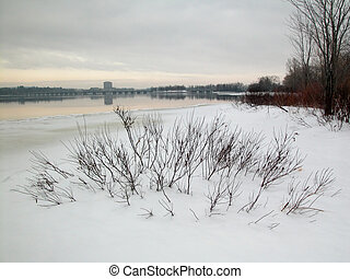 fiume, scena inverno