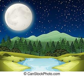 fiume, scena, notte