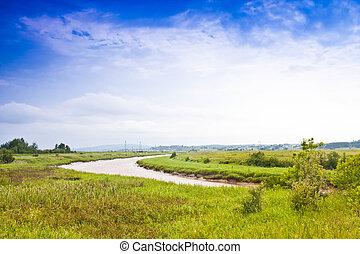 fiume, sinuosità, attraverso, campi