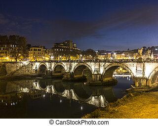 fiume tiber, in, roma, vicino, notte