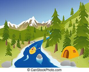 fiume, trasportando zattera