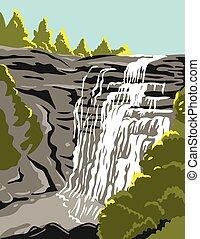fiume, unito, manifesto, wpa, nazionale, valle, stati, arte, parco, cleveland, colorare, ohio, lungo, akron, cuyahoga
