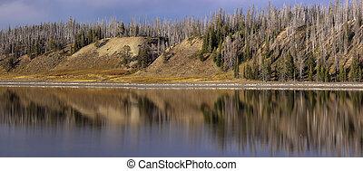 fiume, yellowstone, vista, panoramico