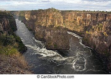 fiume zambezi, zimbabwe, -