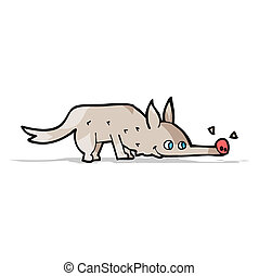 fiuto, cane, cartone animato, pavimento