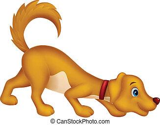 fiuto, carino, cane, cartone animato