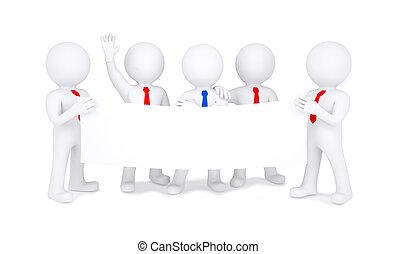 Five 3d little men holding white poster
