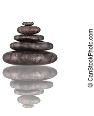 Five 3d stones, combined in a tower