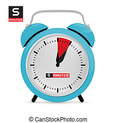 Five 5 Minutes Alarm Clock Vector Illustration