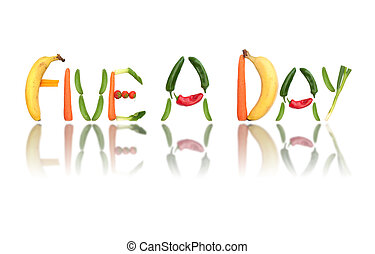 Five a day - Fruits and vegetables spell the words five a...