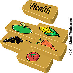 Five a day Health gold bars Vector Illustration