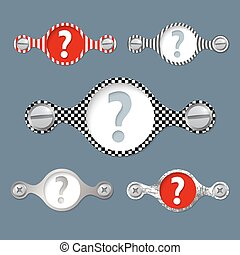 five abstract vector objects and a colored question mark