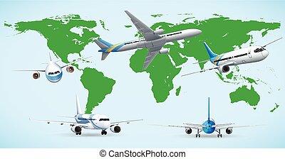 Five airplane flying around the world