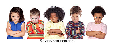 Five angry children isolated on a white background