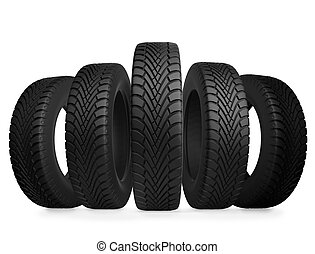 Five automobile tires isolated on white background.