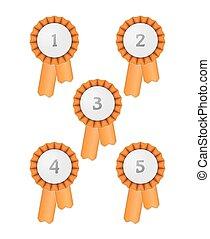 five award ribbons