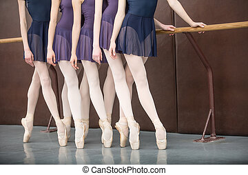 five ballet dancers in class near the handrail, legs only