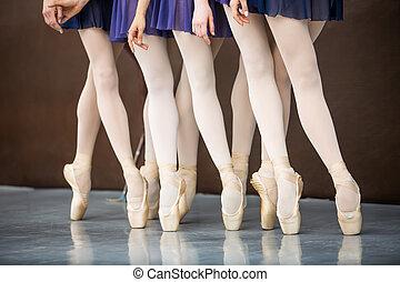 Five ballet dancers in dance class near the barre. Legs only. Soft focus.