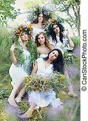 Five beautiful girls in wreaths
