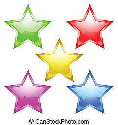 star - Five beautiful stars on a white background. vector