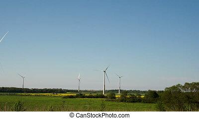 Five big windmills on standby - Five big windmills or wind...