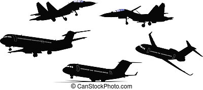 Five black and white Airplane silh