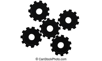 Five black gears spinning . White background. Alpha channel...