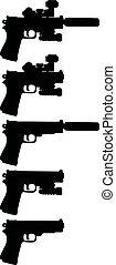 Five black handguns