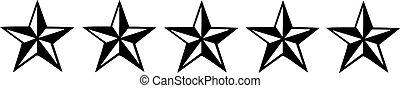 Five black nautic stars