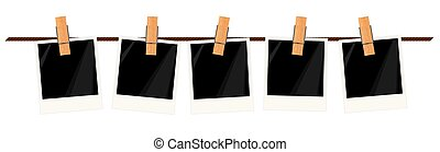 Five blank instant photo frames on a rope