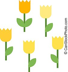 Five blooming tulips vector icon flat isolated