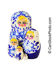 Five blue painted Russian matryoshkas isolated on white background