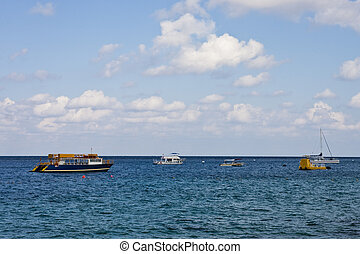 Five Boats and Barges in Bay