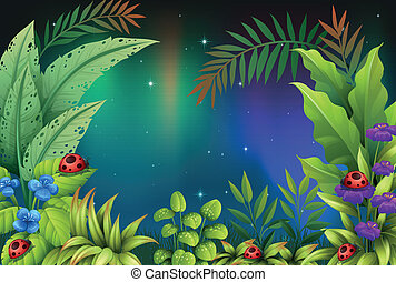 Five bugs in a rain forest - Illustration of the five bugs...