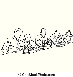 five business people talking to each other in meeting room...