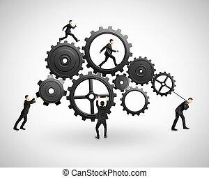 five businessman runs gears on gray background