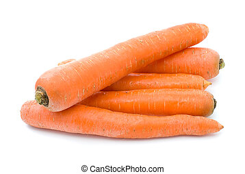 Five carrots isolated on the white background