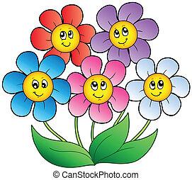 Five cartoon flowers - vector illustration.