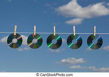 Five CDs On A Clotheslines - Five CDs on a clothesline...
