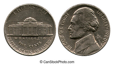 five cents, USA, Dzheferson, 1980
