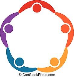 Five Children Group Friendship Logo