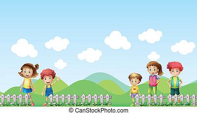 Five children in the farm - Illustration of five children in...